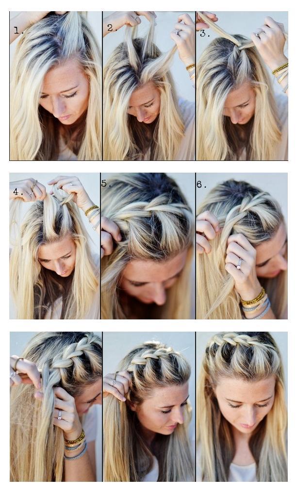 Коса на средние волосы своими руками фото