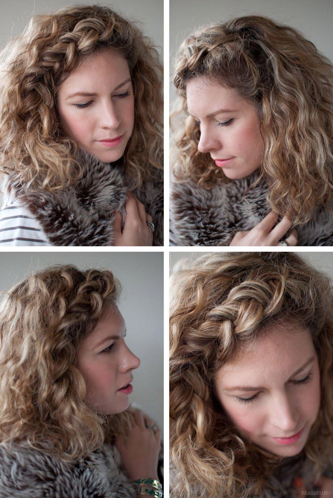 Прически на каждый день на волнистые волосы средней длины фото