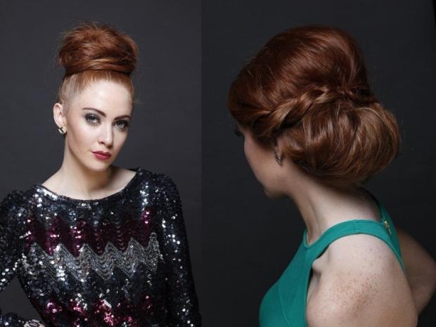 Объемная прическа на волосы средней длины