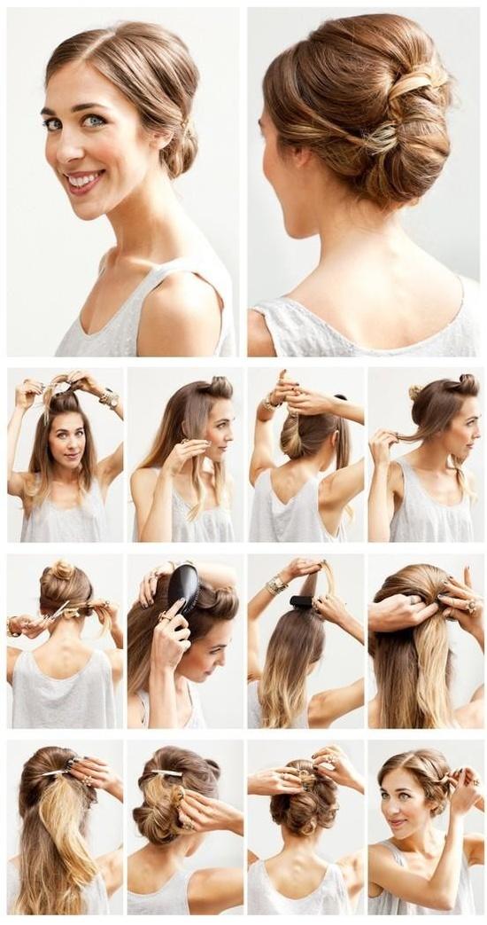 Прическа своими руками на средней длины волосы