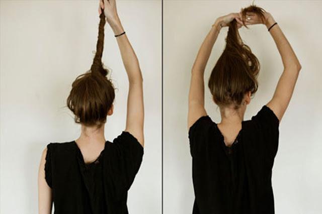 Как сделать растрепанный пучок на длинные волосы